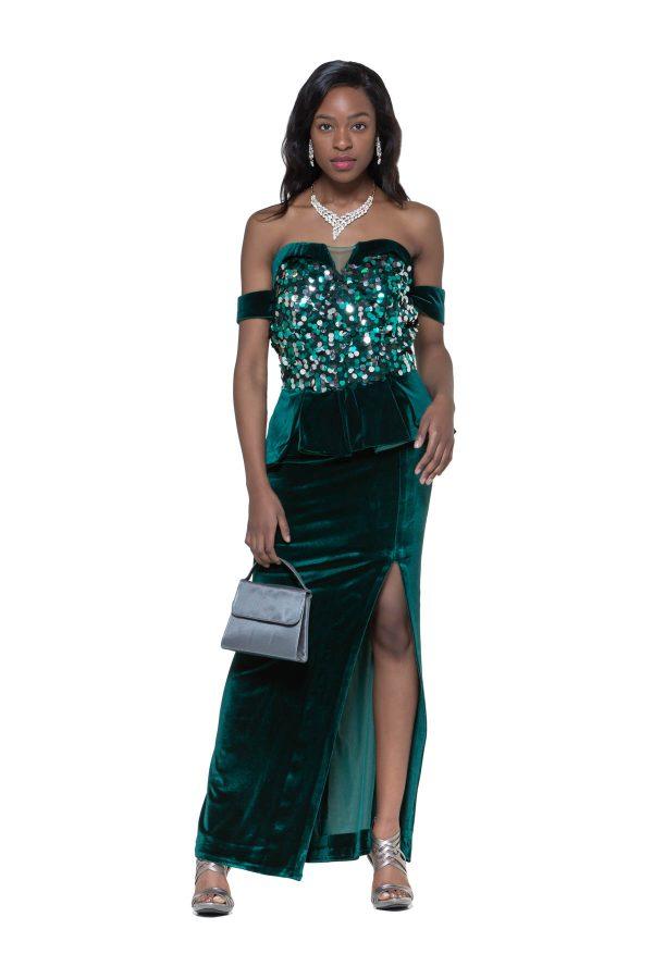 Front side green velvet