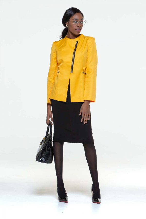 Yellow skirt suit front side